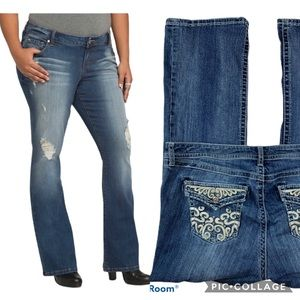 Distressed Embellished Relaxed Bootcut Jeans 16